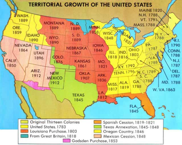 Quia Class Page Westward Expansion - Map of us territories in 1803