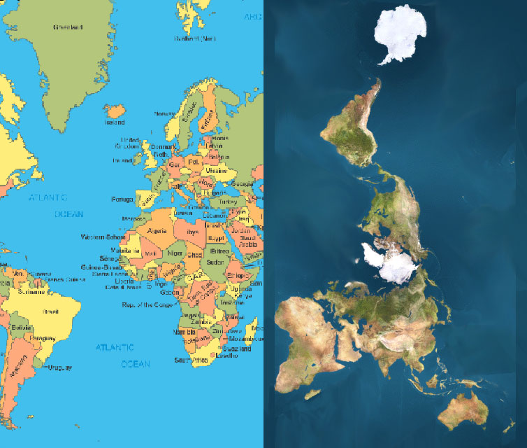 Compare Greenland & Africa on Both Maps